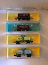 Atlas N Scale 4 Car Set, 2 70 Ton Ore Cars & 2 Beer Can Tank Cars, New In Box