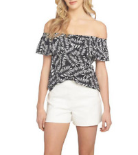 Women's 1.state Ruffle Off The Shoulder Blouse, Size Medium - Black  MSRP:$69.00