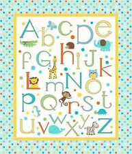 ABC Alphabet Zoo Baby Nursery Quilt Top Wall Hanging Panel Fabric Springs