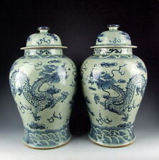Pair of China Antiques Blue&White Porcelain Lidded Jars with Coiled Dragon Deco