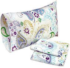 4-Piece King Size Paisley Floral Print Cotton Flannel Sheet Set Deep Pocket