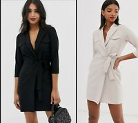 ASOS™ DESIGN $56 Utility Mini Tux Dress - Black, Silver