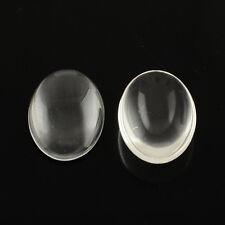 10 Glass Cabochons Oval 25x18 Flatbacks Flat Backs Domed