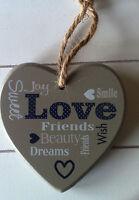 Shabby Chic Vintage Home Deko Holz Anhänger  Herz mit Love in grau