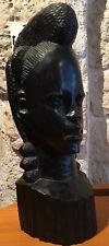 Buste De Femme Afrique Ethnique Bois D'ébene Veritable Sculpté 2,740 Kg
