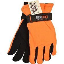 Mens Hunter Orange Gloves, Thermal Insulated, Fleece Winter Gloves, Hunting