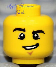 NEW Lego Police Agent MINIFIG HEAD w/Chin Dimple Grin - City/Castle/Army Soldier