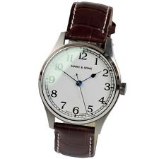 MARC & SONS Marine Automatic Men's Watch white Miyota 9015 Movement Leather band