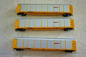 N Scale Con-Cor tri level autorack BNSF BURLINGTON NORTHERN Set Lot of 3