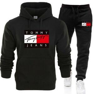 New 2Pcs Men's Hoodies+Pants Tracksuit Set Bottoms Sport Jogging Suit Uk