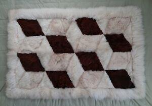 Alpaca Style Geometric Patchwork Fur Rug 48x32 Plush Soft Wall Hanging Mat Peru
