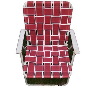 Vintage Aluminum Folding Chair Beach Lawn Patio Outdoor Webbed Red and White