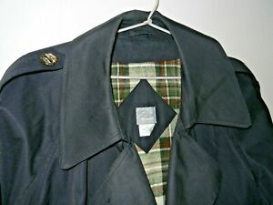 TRENCH COAT DOUBLE BREASTED LADIES BLACK RAINCOAT SZ14 MID CALF PRE LOVED
