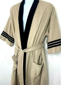 Vintage Mens Lounge Robe Beige Brown Trim Bathrobe Casual 3/4 Sleeve Belted OS