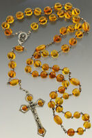 ANTIQUE Vintage Massive Genuine BALTIC AMBER Silver Catholic Rosary 66g 180723