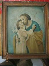 ORIGINAL VINTAGE RETABLO ON TIN SAINT JOSEPH AND YOUNG JESUS , FRAMED SIGNED