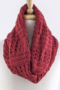 Eternity Soft Mixed Knit Burgundy Red Woven Knit Infinity Scarf B5