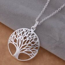 Pretty Tree of Life Charm Round Necklace Pendant 925 Sterling Silver Filigree