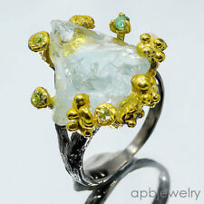 Fineart jewelry Natural Aquamarine 925 Sterling Silver Ring Size 7.5/R28891