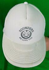 RARE Vintage Seattle Sounders FC MOZ Snapback Hat White Soccer Mesh MLS NASL
