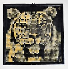 "Lego Tiger Mosaic Picture Wall Hanging Art Decor Made of Legos 15""x15"""