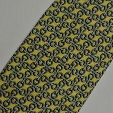 Amarillo Azul Ecuestre Corbata de Seda 9.1cm Ancho 142cm Largo