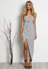 Make Or Break Maxi Dress black and white stripe Madison Square BNWT S, M