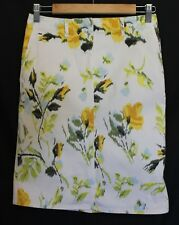 SPORTSCRAFT ~ White Yellow Green Blue Floral Roses Stretch Cotton Pencil Skirt 6