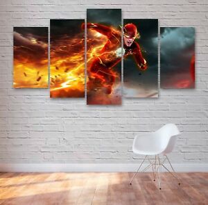 The Flash Barry Allen 5 Panel Canvas, 5 Piece Wall Art, Multi Panel Canvas #035