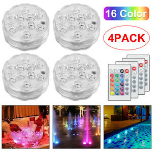 4PCS Remote Control RGB 16 Colour Changing Underwater Pond Aqua Mood LED Lights