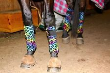 Horse Polo Wraps - Rainbow Leopard Cheetah W/ Zebra Wilker's Baby Pad