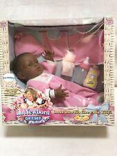 "1998 Berenguer La Newborn Gift Set 17"" Vinyl African American Doll NIB"