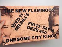 80s NEW FLAMINGOS/LONESOME CITY KINGS Rock Concert Flyer Seattle Mr Bills Dez's