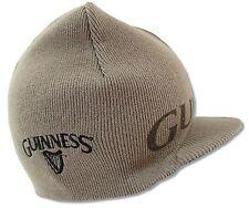 Official Guinness Brown Tan Reversible Billed Beanie Cap Winter Hat