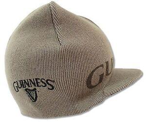 Guinness Reversible Brown & Tan Logo Billed Beanie Cap Winter Hat w/ Clover Icon