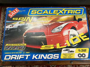 Scalextric C1284 Drift Kings box set with Nissan GT-R Silver&Red black borders