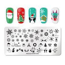 NICOLE DIARY Christmas Nail Art Stamping Plates Snowflake Manicure Templates 002