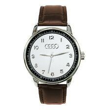 AUDI Mens Stainless Steel WHITE Dial BROWN Leather Strap Sport Watch
