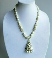 Vintage faux pearl and lucite bead necklace tassel pendant white clear gold 60s