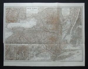 Antique Map: New York State, United States, by Emery Walker, 1910, Bi-colour