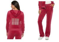 NWT Juicy Couture Tracksuit Velour Jacket Boot cut Pants PINK Gym Women xsmall