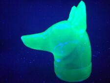 Blue Vaseline glass Doberman pinscher uranium candy container dog / radioactive