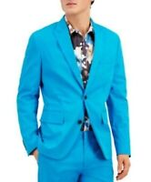 INC Mens Blazer Blue Large L Slim Fit Peak-Lapel Two-Button Stretch $129 352