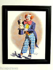 CLOWN PICTURE RABBIT IN HAT FRAMED PRINT 11X14