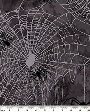 Fat Quarter Gothic Glam Spiders Web Halloween Cotton Quilting Fabric Benartex