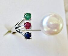 Freshwater Pearl, Emerald, Ruby & Sapphire Ring, 925 Sterling Silver, size 8