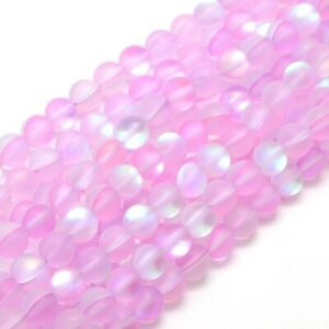 """Round Iridescent Glass Mermaid Beads Clear/Frosted Color 15"""" Strand 6mm/8mm/10mm"""