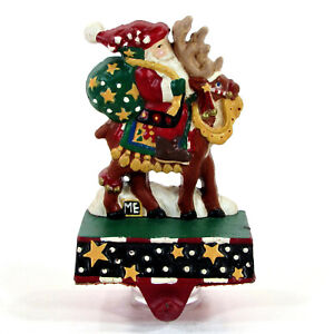 "Mary Engelbreit JOLLY OLD ST. NICK 5.5"" Cast Iron Stocking Hanger Reindeer MCF"