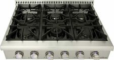 "Thor kitchen Pro-Style Gas Rangetop with 6 Sealed Burners 36"" Cooktop Stainless"