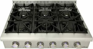 """Thor kitchen Pro-Style Gas Rangetop with 6 Sealed Burners 36"""" Cooktop Stainless"""